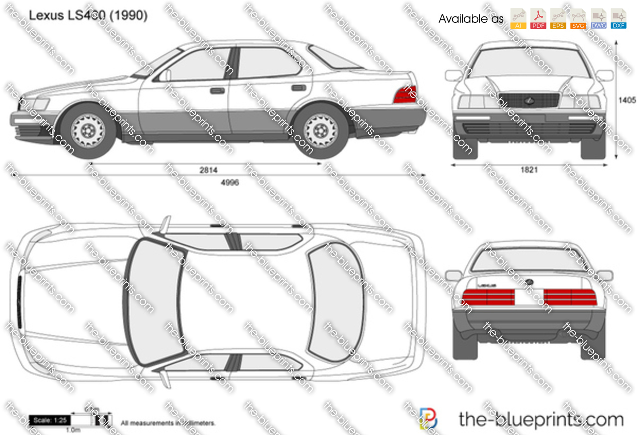 Lexus Ls400 Vector Drawing