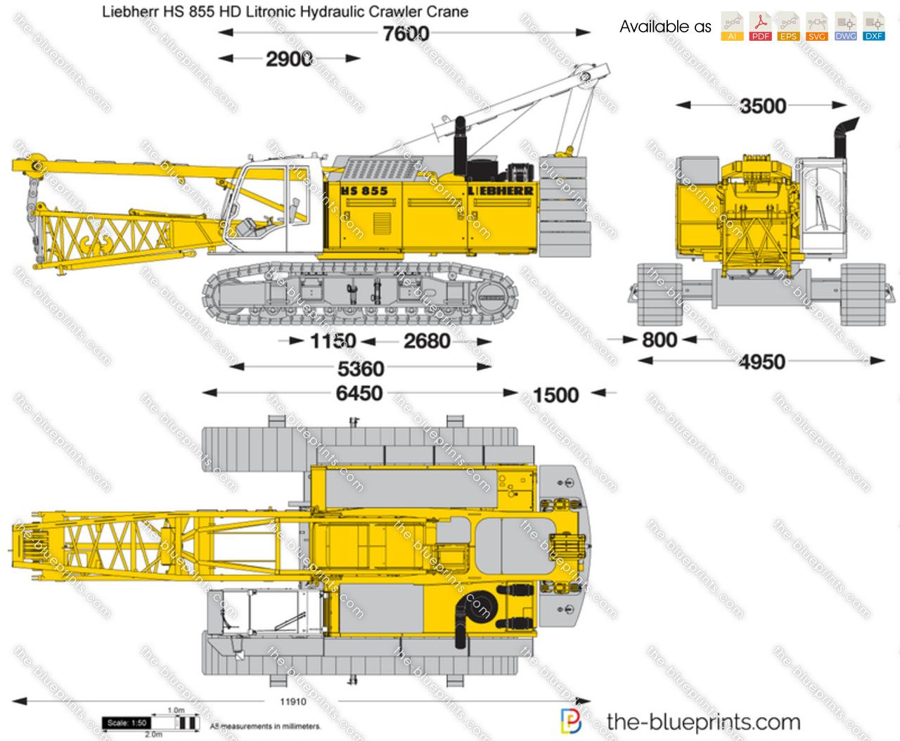 Liebherr HS 855 HD Litronic Hydraulic Crawler Crane vector