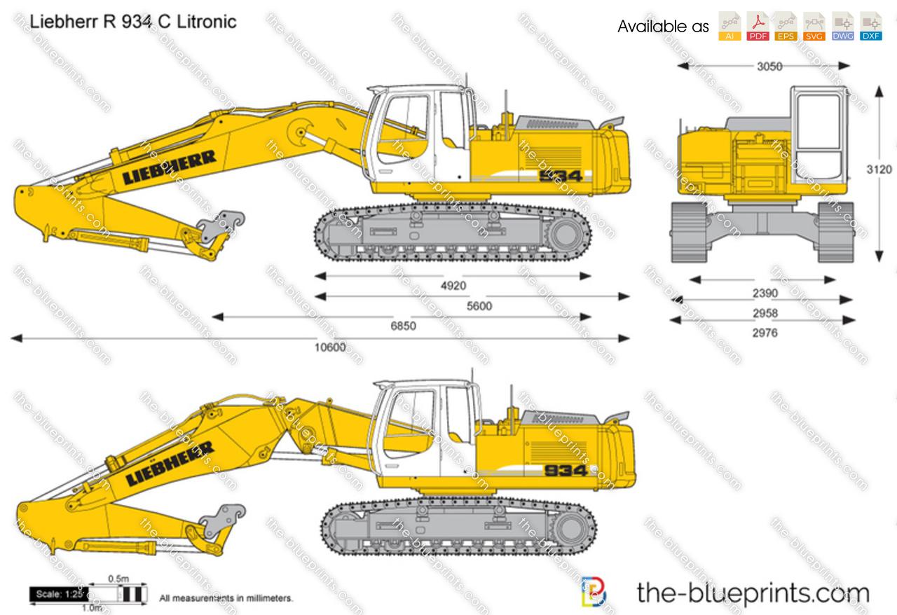 Liebherr R 934 C Litronic Excavator Vector Drawing