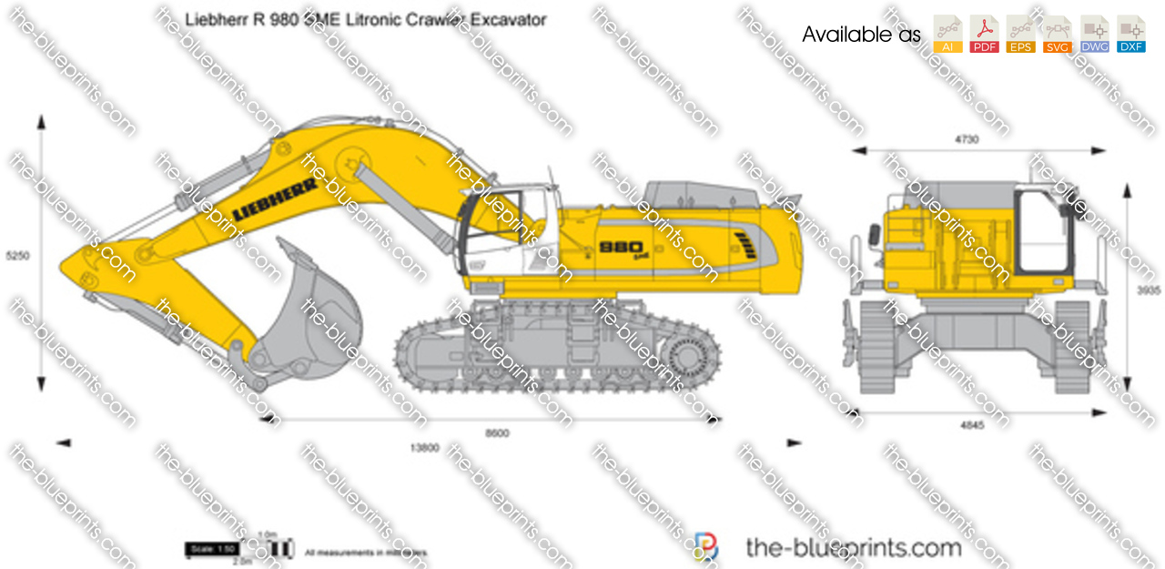 The Blueprints Com Vector Drawing Liebherr R 980 Sme