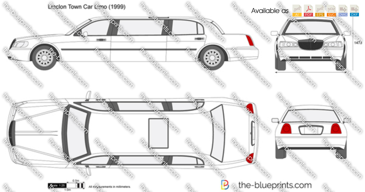 lincoln town car limo vector drawing