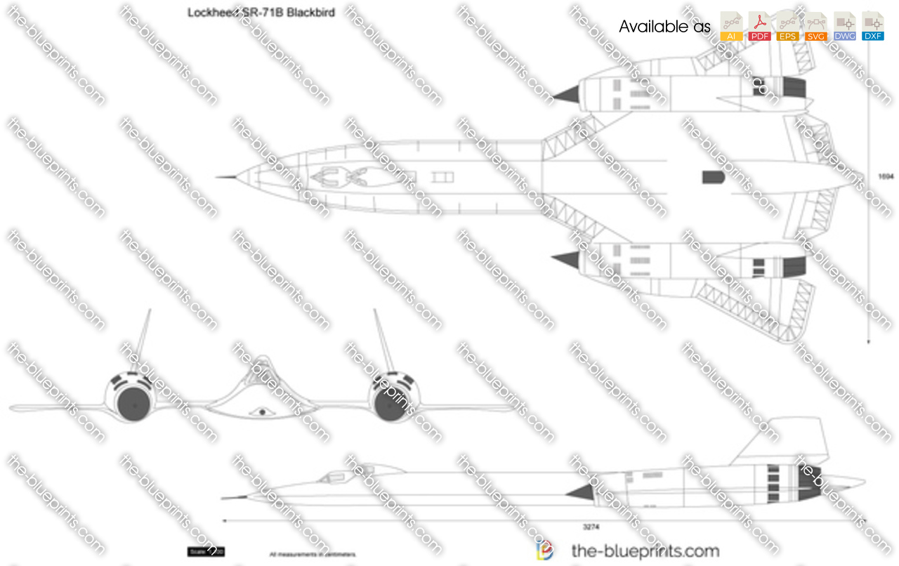 The-Blueprints.com - Vector Drawing - Lockheed SR-71B ...