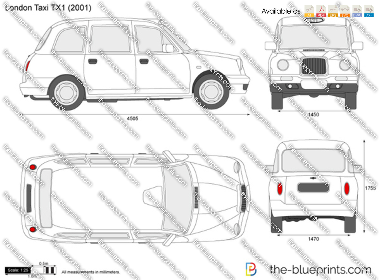 london taxi tx vector drawing