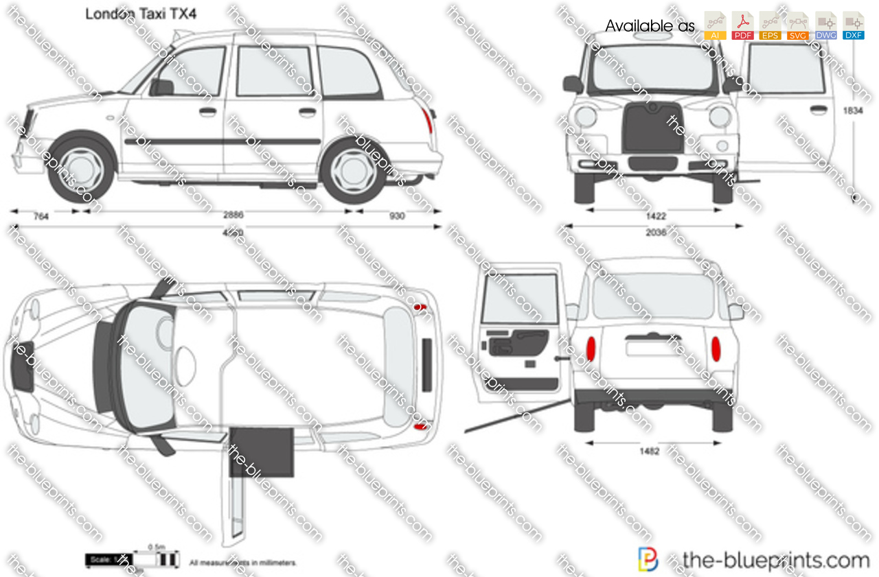 London Taxi Tx4 Vector Drawing