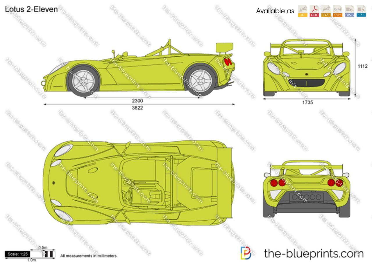 Lotus 2-Eleven vector drawing