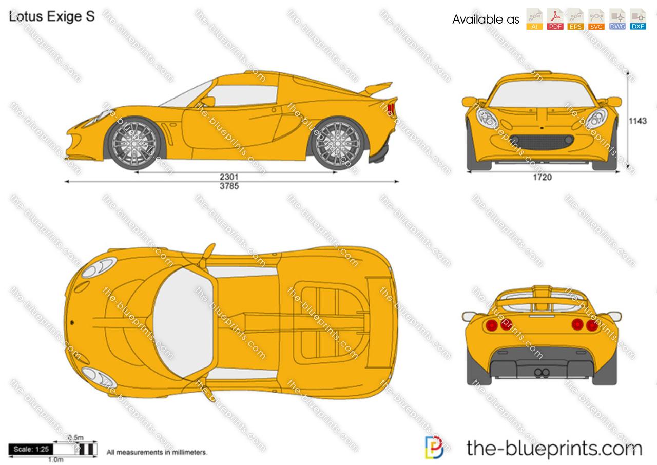 Lotus Exige S Vector Drawing