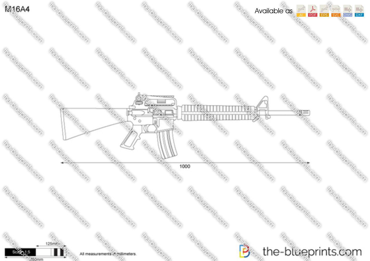 M16a4 vector drawing for Where to get blueprints