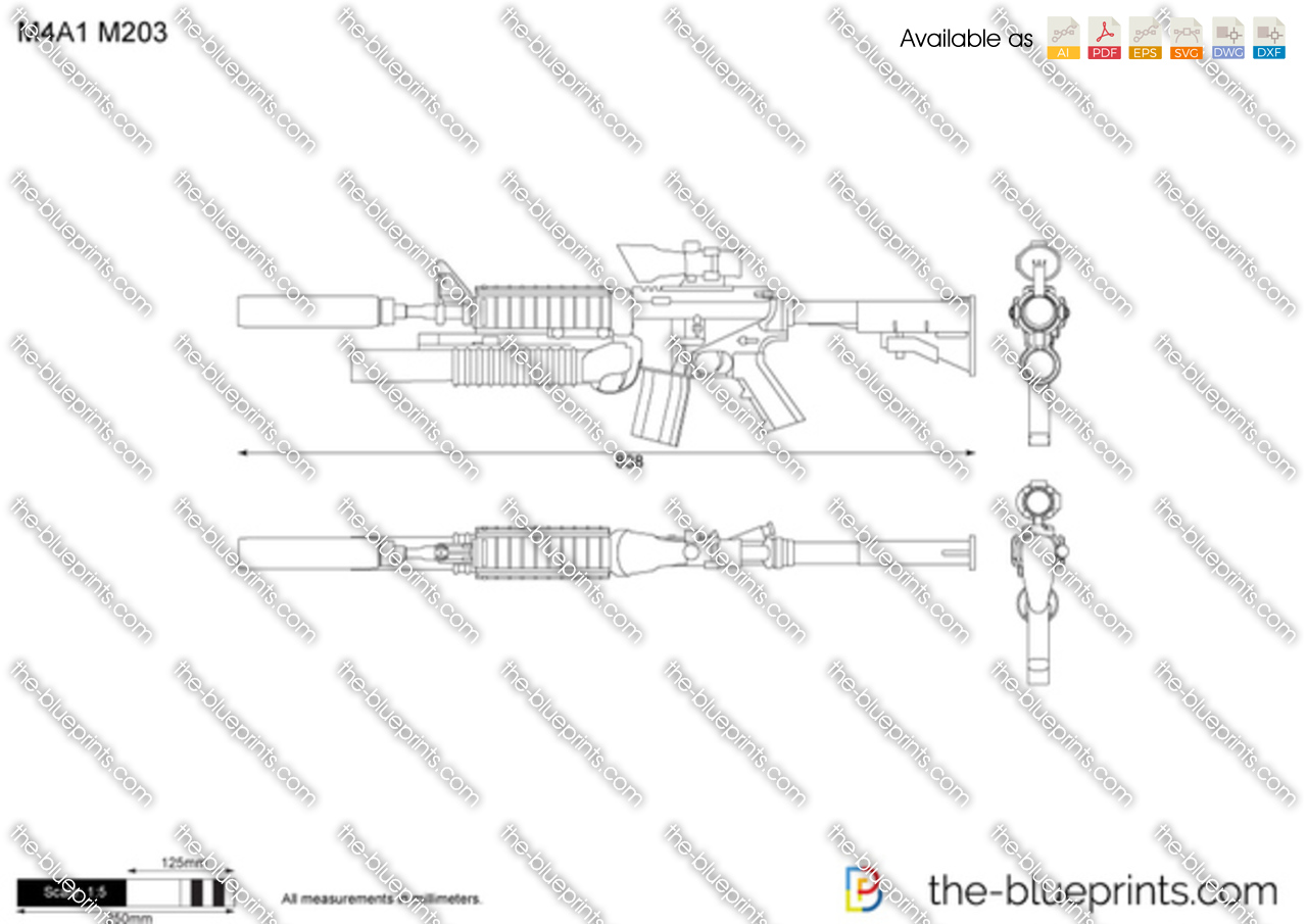 M4a1 M203 Vector Drawing