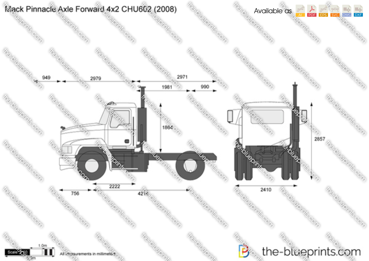 mack pinnacle axle forward 4x2 chu602 vector drawing