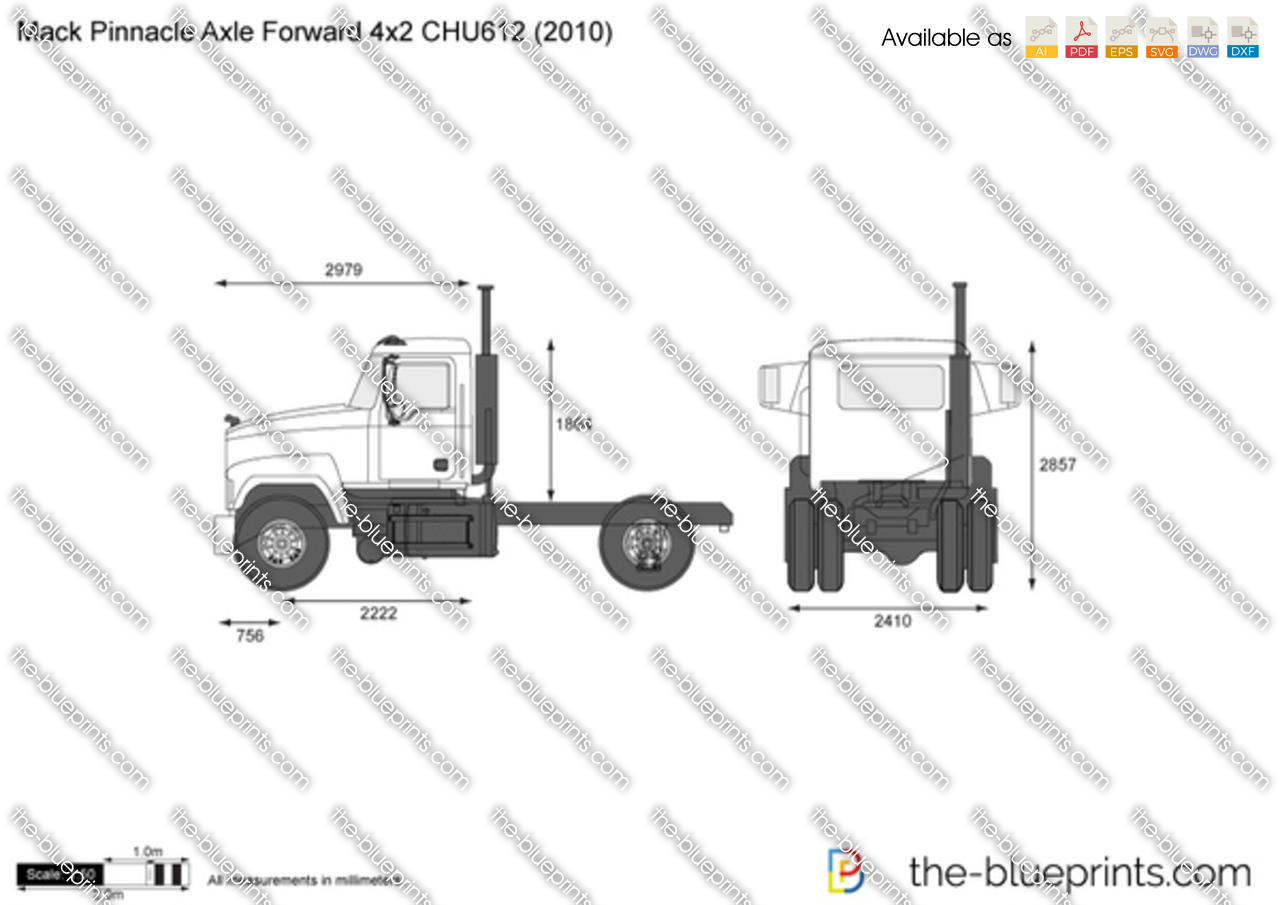 mack pinnacle axle forward 4x2 chu612 vector drawing