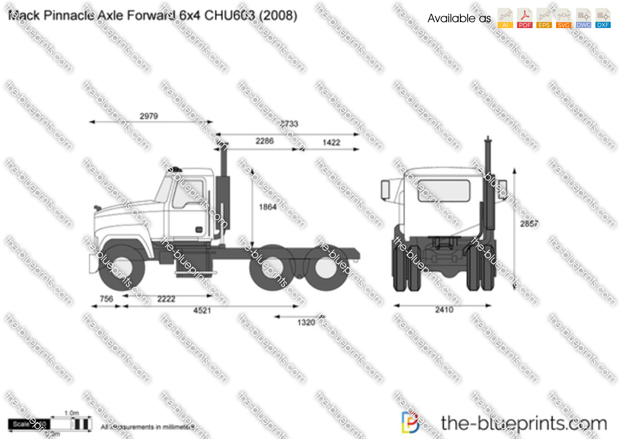 mack pinnacle axle forward 6x4 chu603 vector drawing
