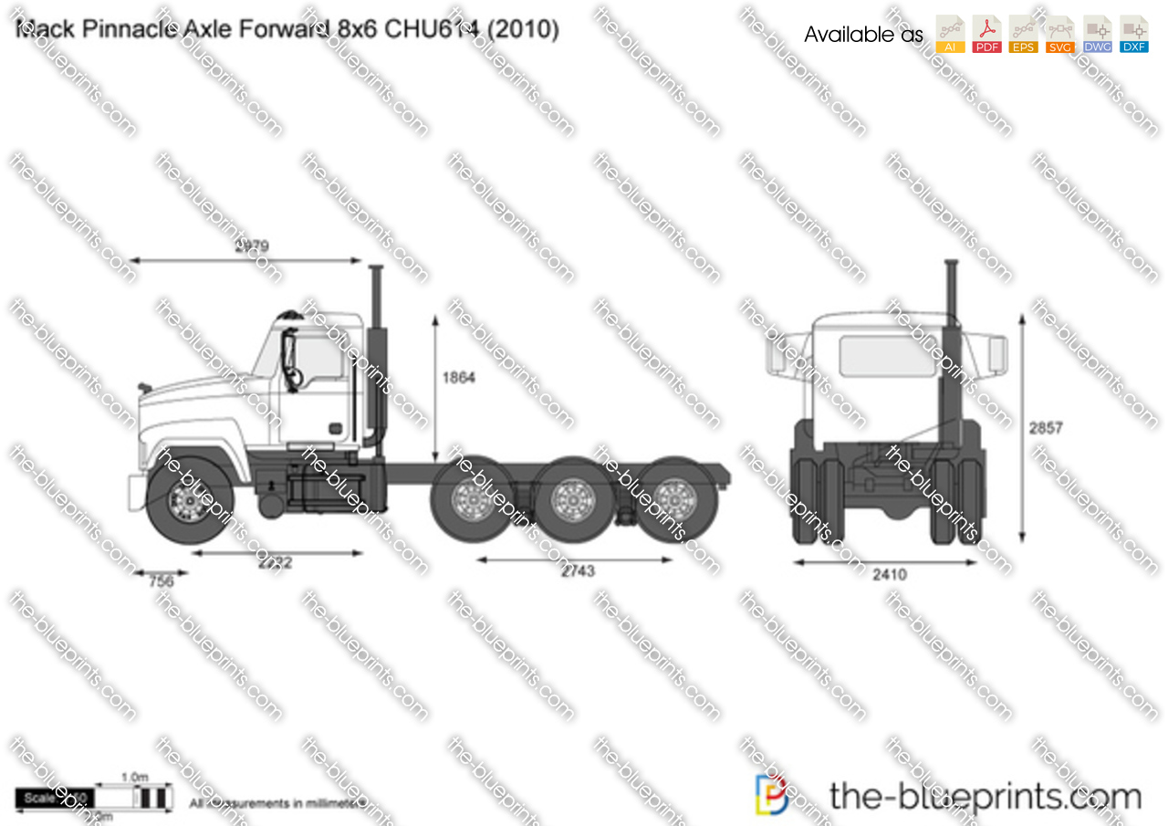 mack pinnacle axle forward 8x6 chu614 vector drawing