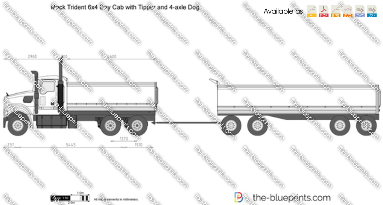 Mack Trident 6x4 Day Cab with Tipper and 4-axle Dog