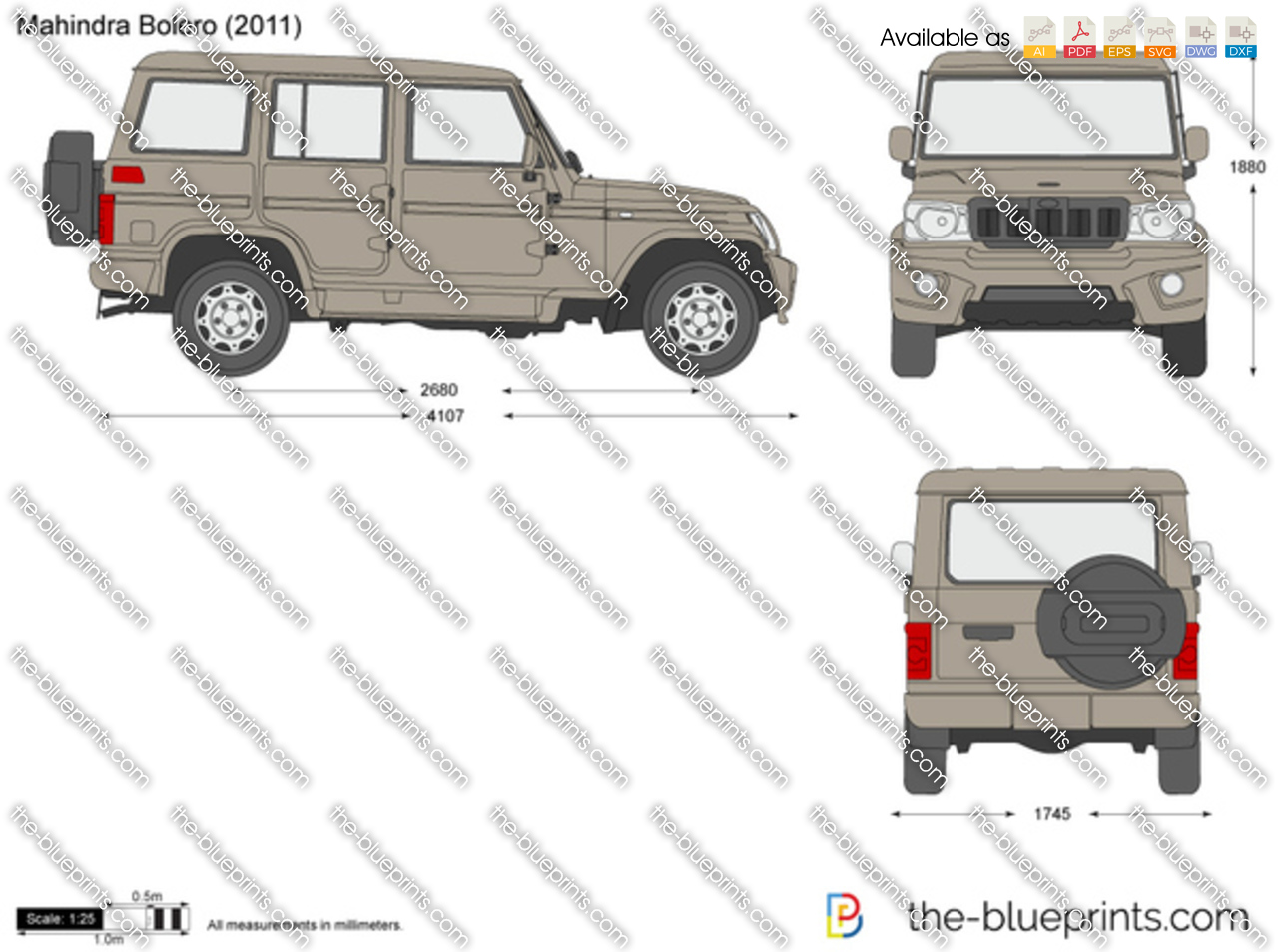 Mahindra Bolero Vector Drawing