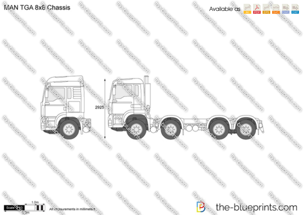 man tga 8x8 chassis vector drawing