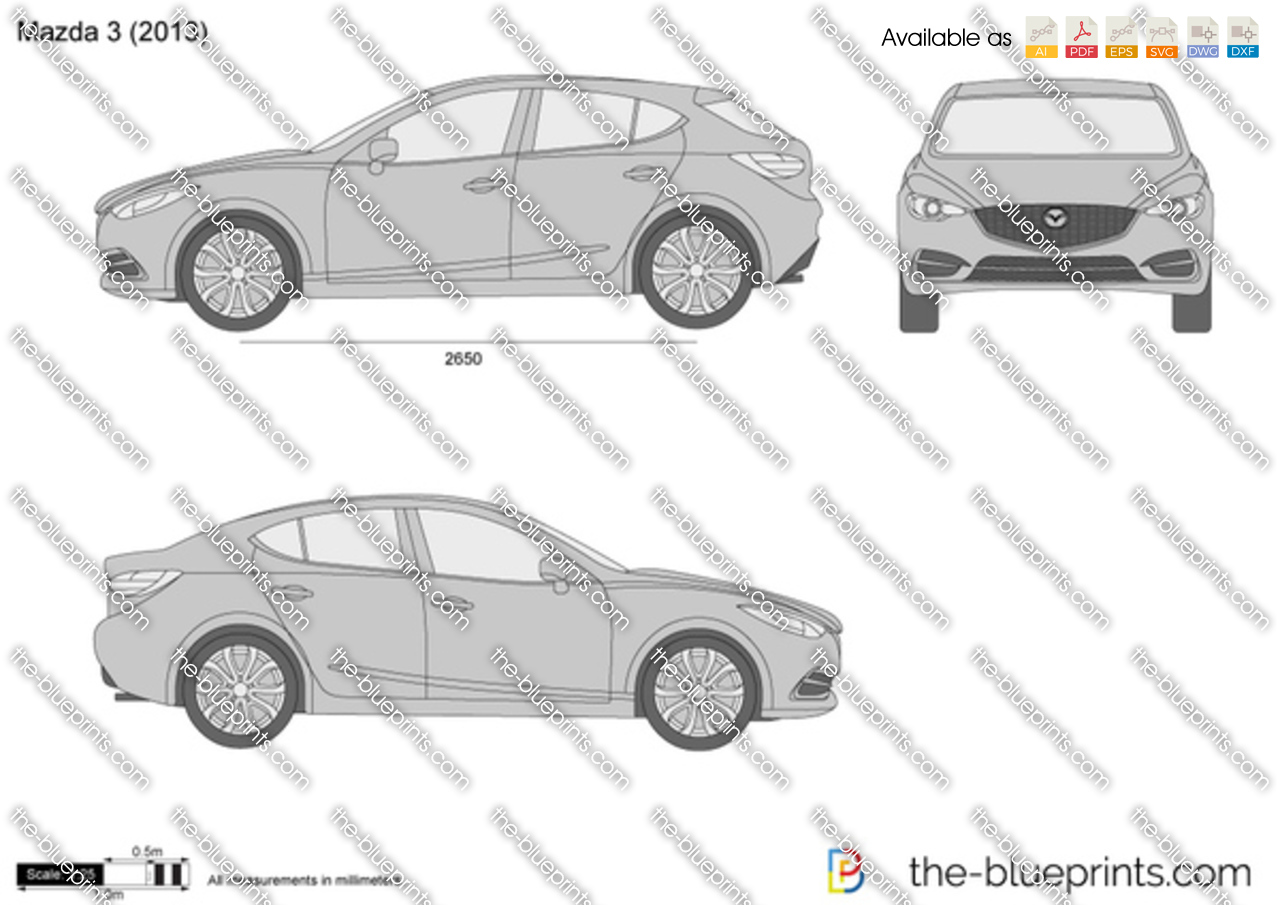 Mazda 3 vector drawing for Blueprint cost