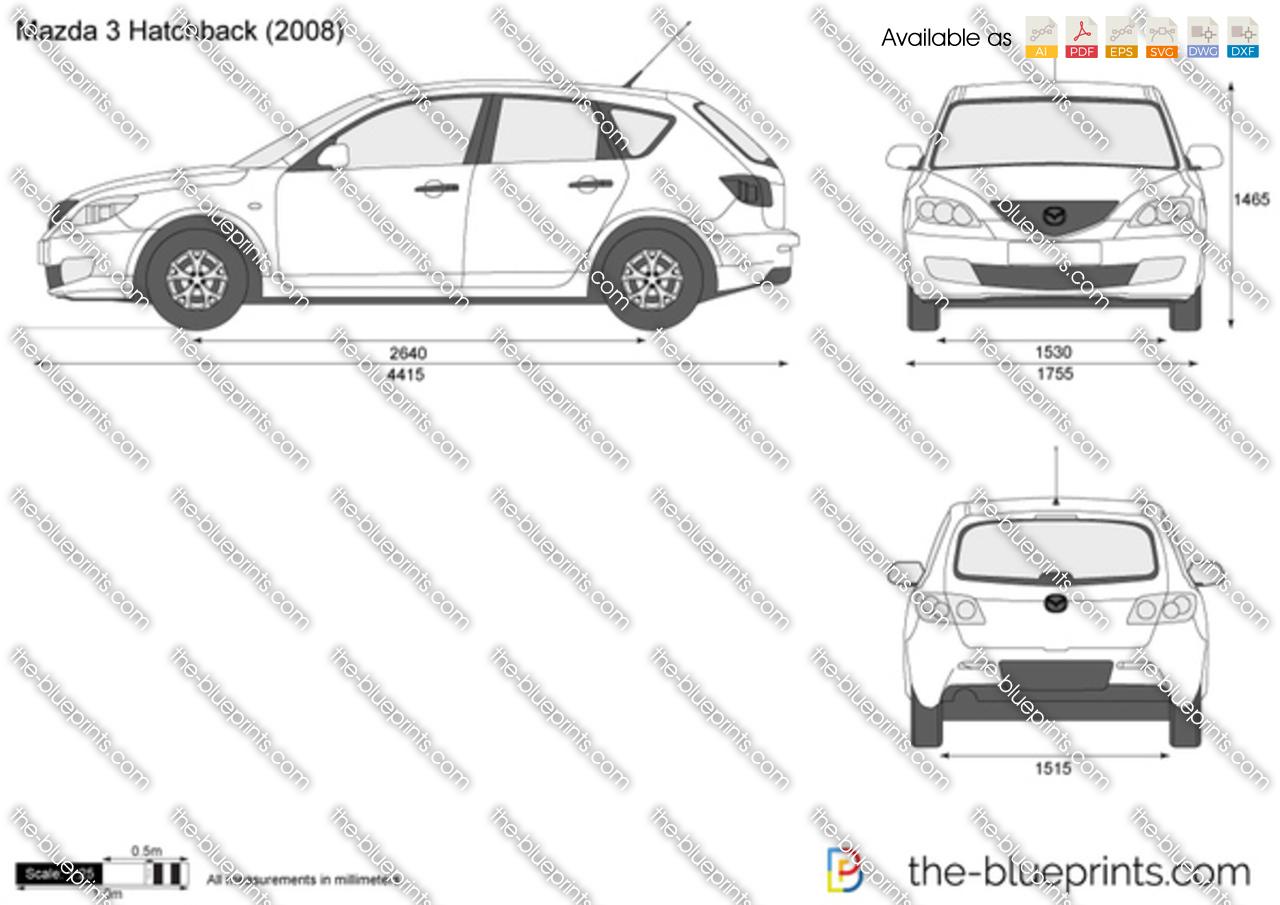 the vector drawing mazda 3 hatchback. Black Bedroom Furniture Sets. Home Design Ideas