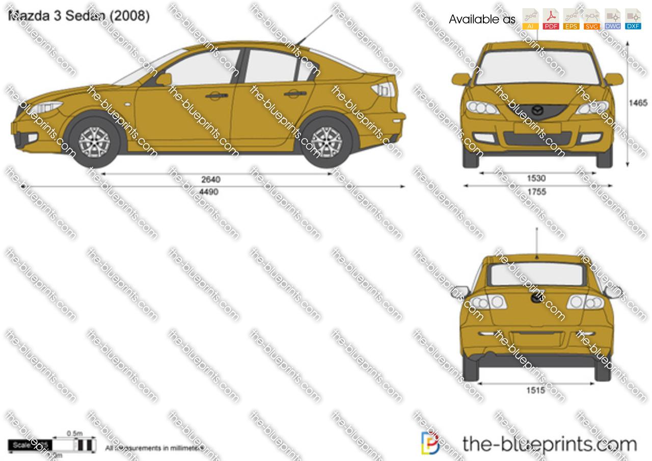 Mazda 3 Sedan Vector Drawing