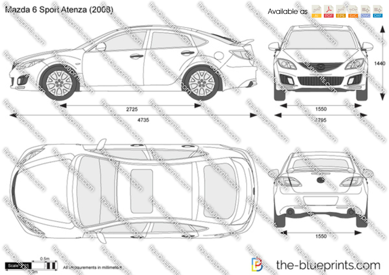 mazda 6 atenza sport vector drawing
