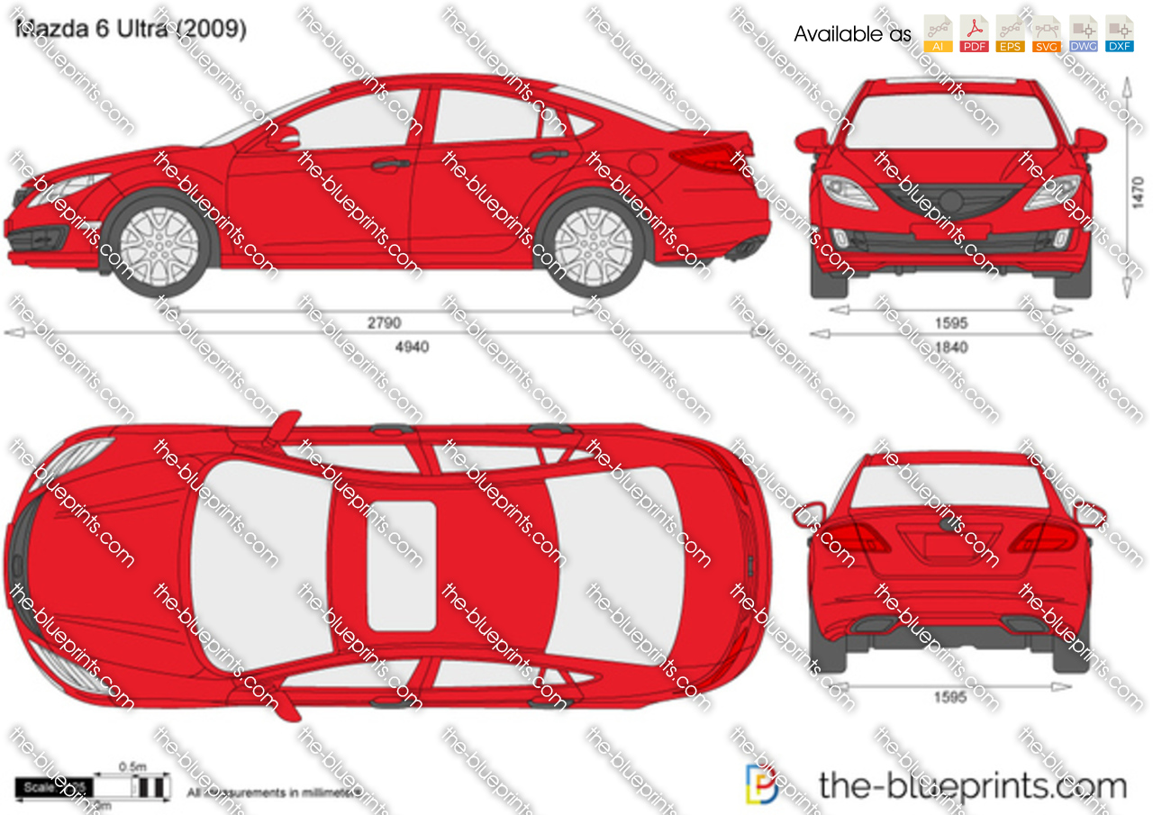 mazda 6 ultra vector drawing