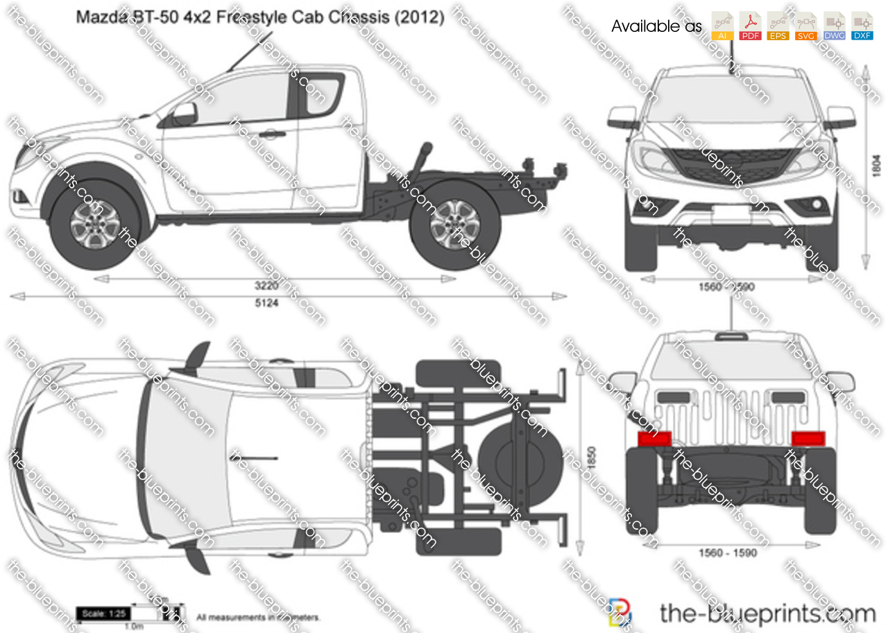 Mazda Bt 50 4x2 Freestyle Cab Chassis Vector Drawing