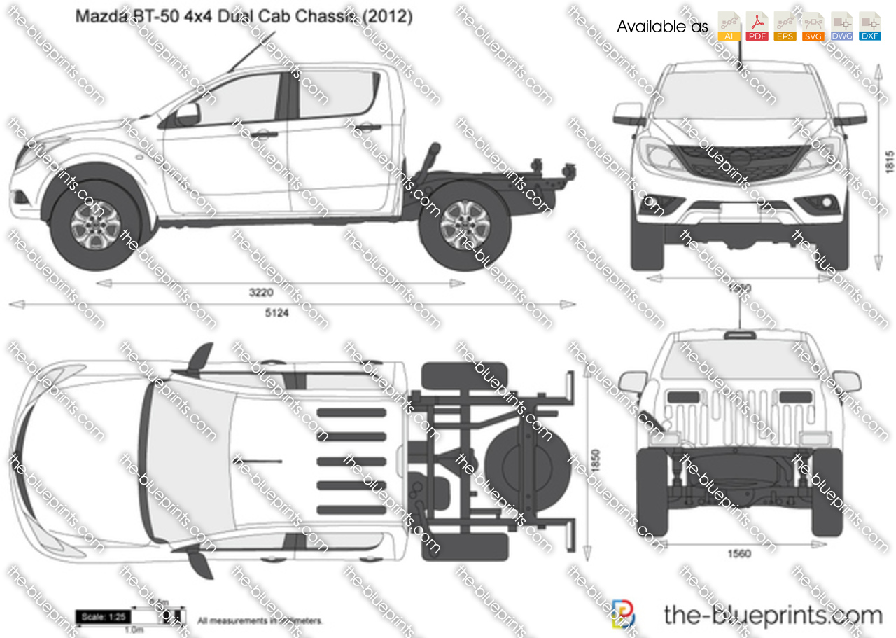 Mazda Bt 50 4x4 Dual Cab Chassis Vector Drawing