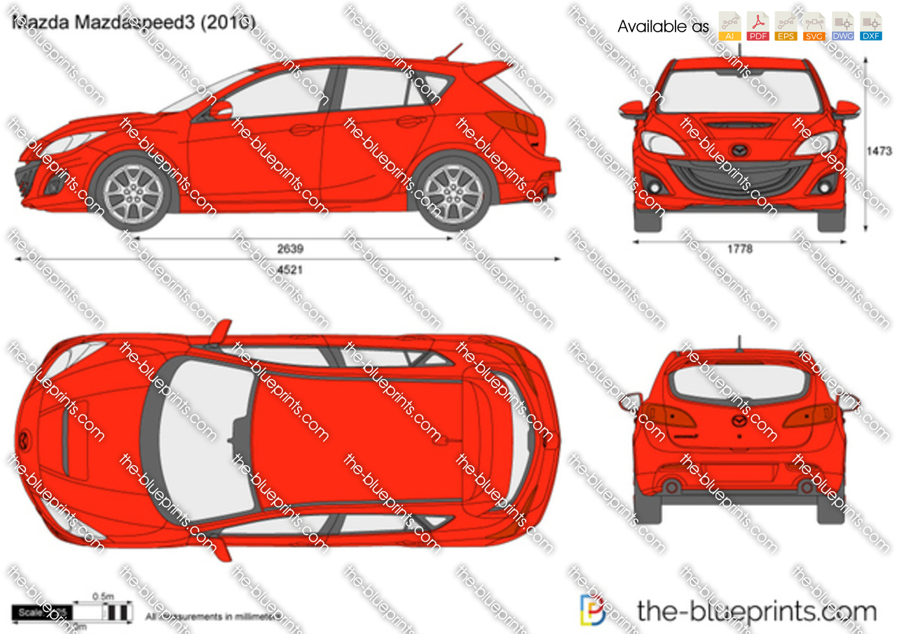 Mazdaspeed3 For Sale >> The-Blueprints.com - Vector Drawing - Mazda MazdaSpeed3
