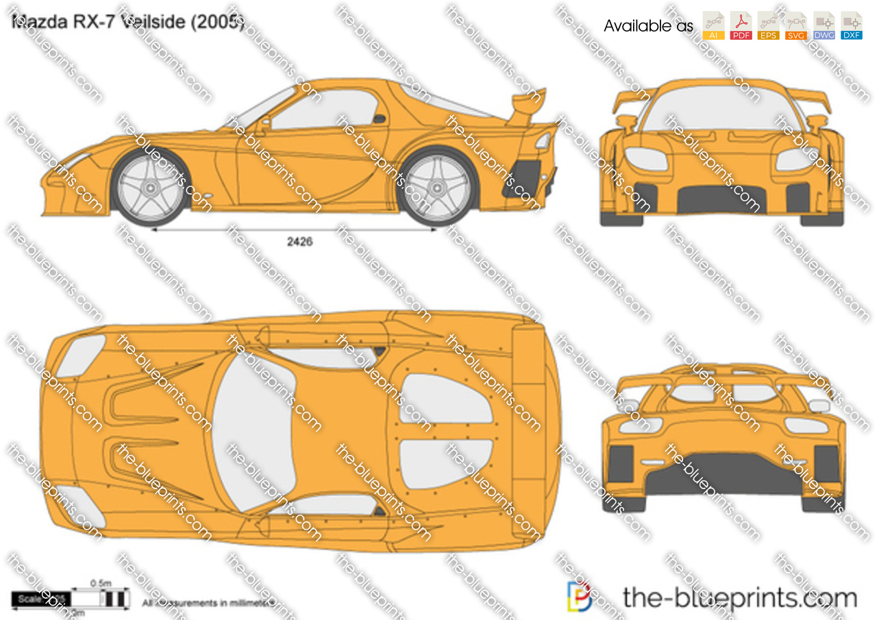 The vector drawing mazda rx 7 veilside Blueprints for sale