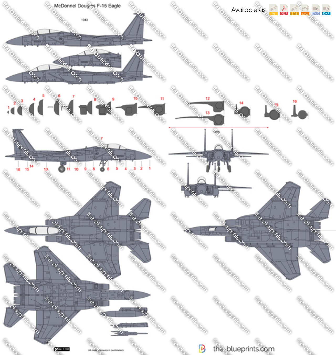 mcdonnell douglas f 15 eagle vector drawing