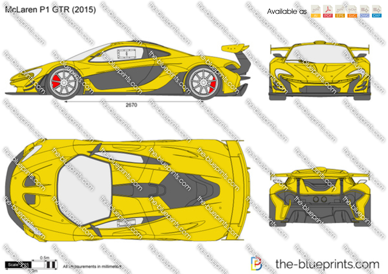 Mclaren P1 Gtr Vector Drawing