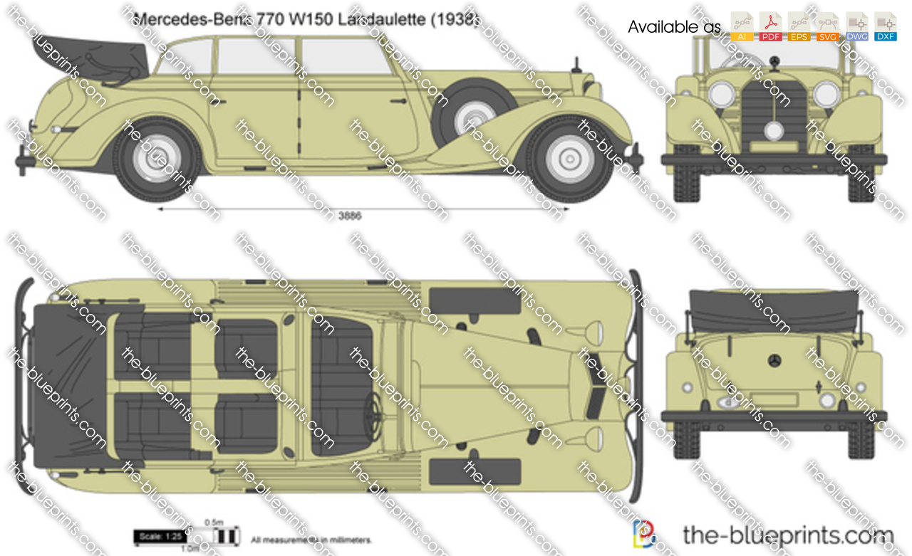 Mercedes benz 770 w150 landaulette vector drawing for Mercedes benz 770 for sale