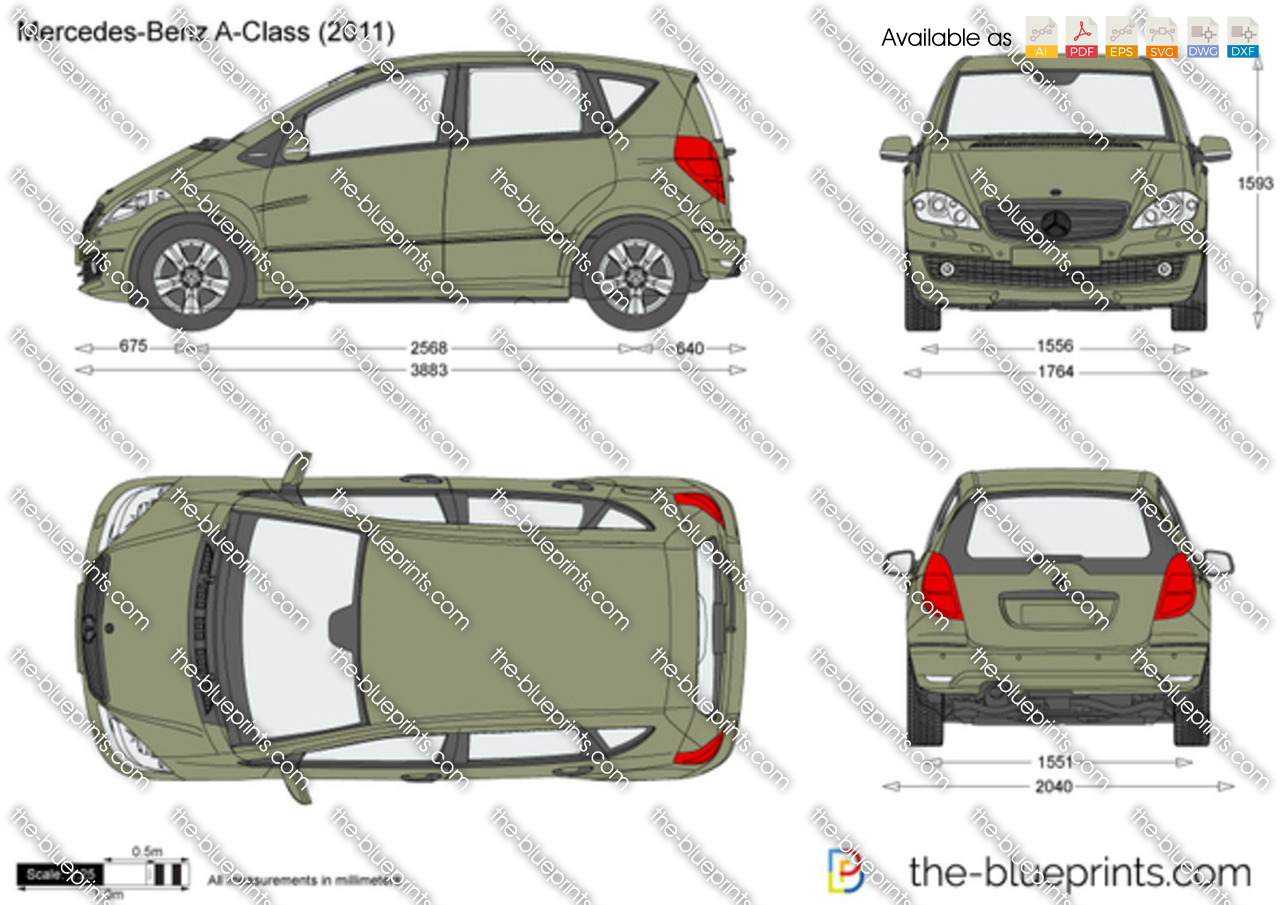 mercedes benz a class w169 vector drawing. Black Bedroom Furniture Sets. Home Design Ideas