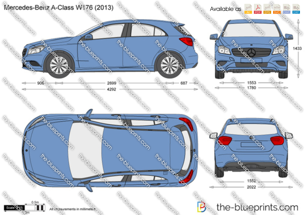 Mercedes-Benz A-Class W176 vector drawing