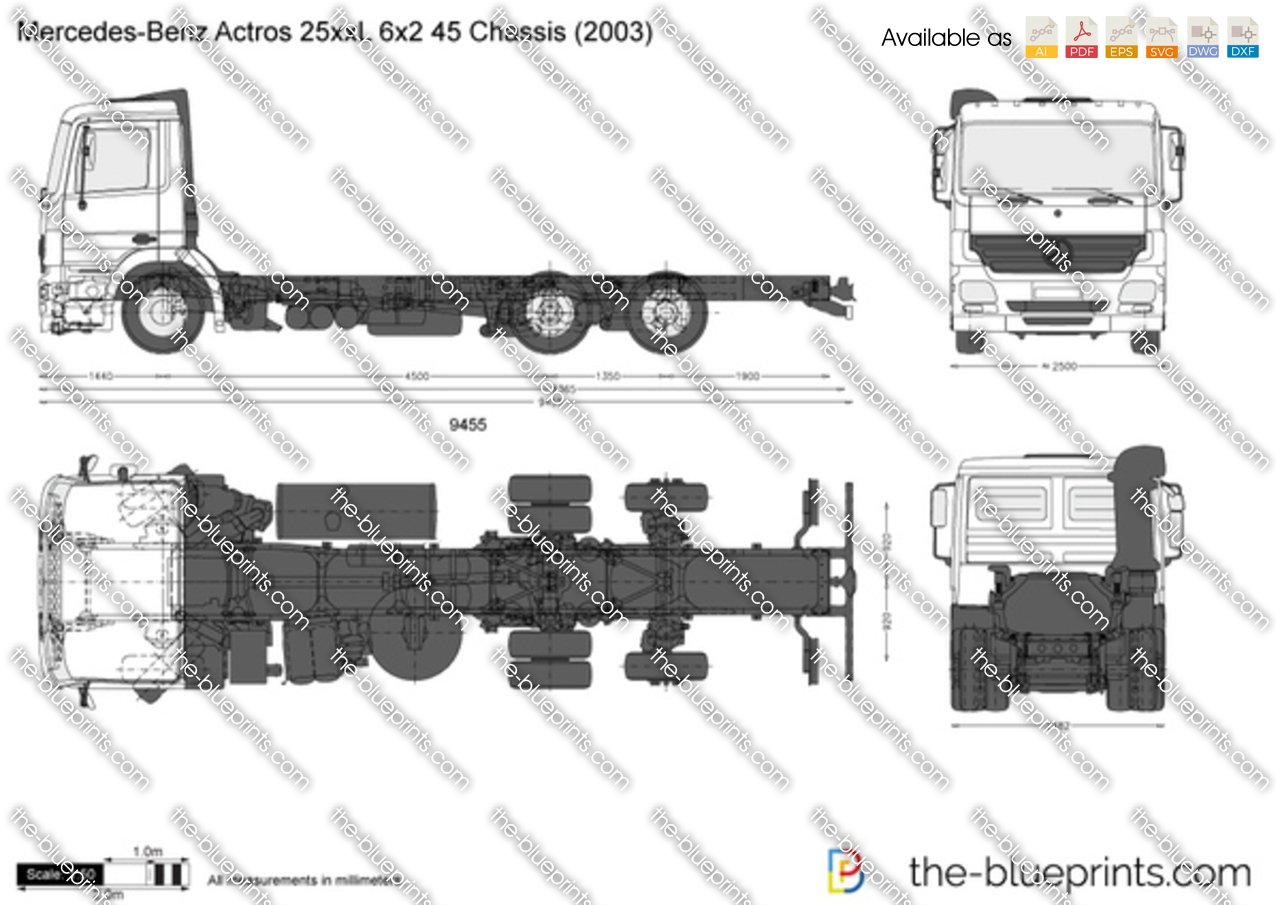 Mercedes-Benz Actros 25xxL 6x2 45 Chassis
