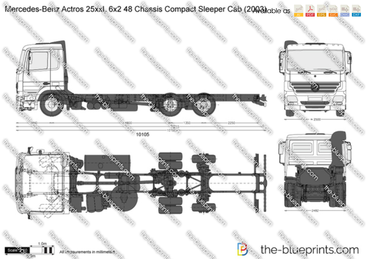 Mercedes-Benz Actros 25xxL 6x2 48 Chassis Compact Sleeper Cab
