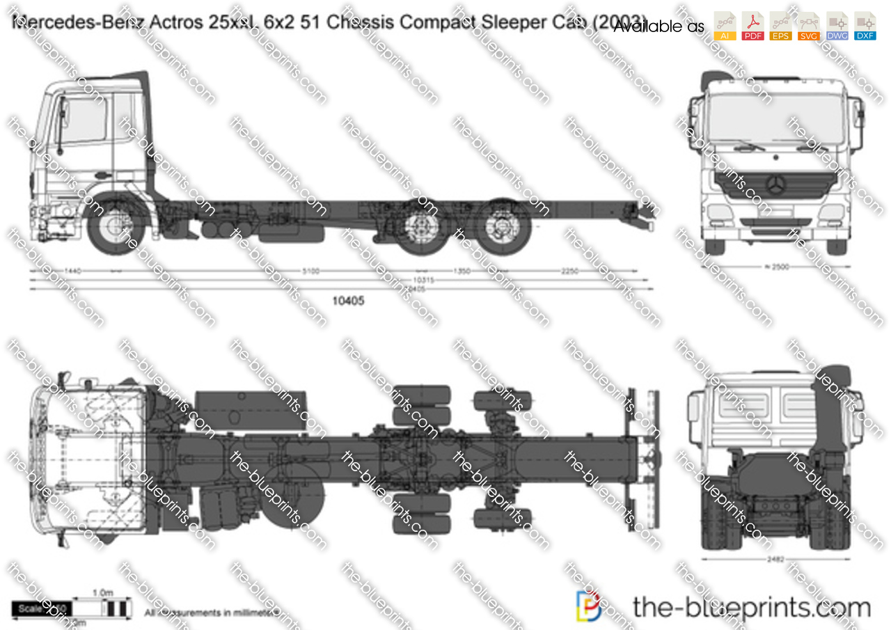 Mercedes-Benz Actros 25xxL 6x2 51 Chassis Compact Sleeper Cab