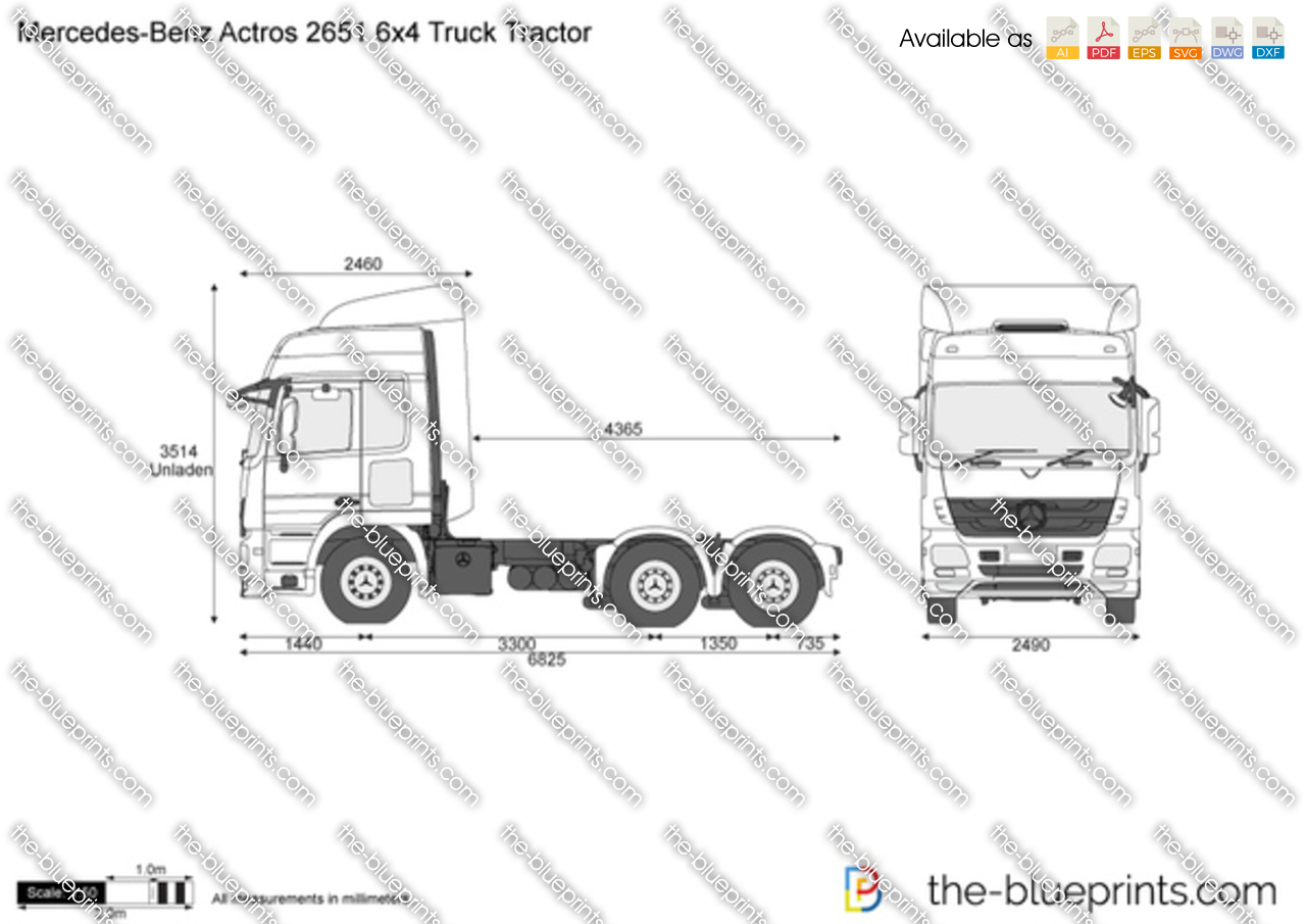 Mercedes Benz Actros 2651 6x4 Truck Tractor Vector Drawing