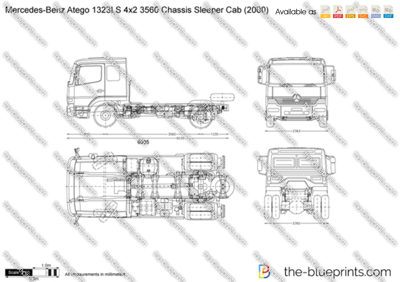 Mercedes-Benz Atego 1323LS 4x2 3560 Chassis Sleeper Cab