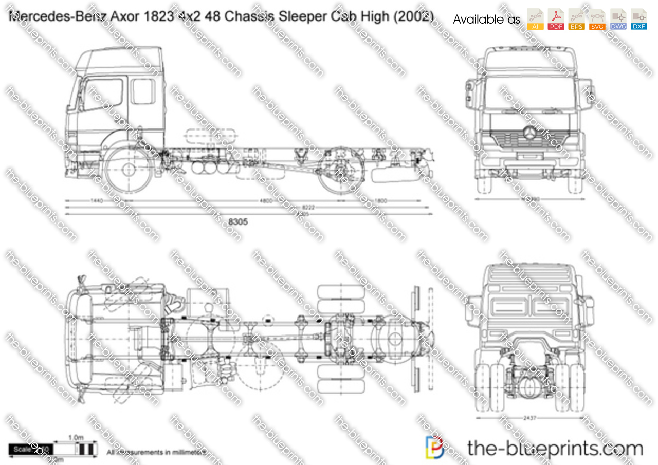 Mercedes-Benz Axor 1823 4x2 48 Chassis Sleeper Cab High