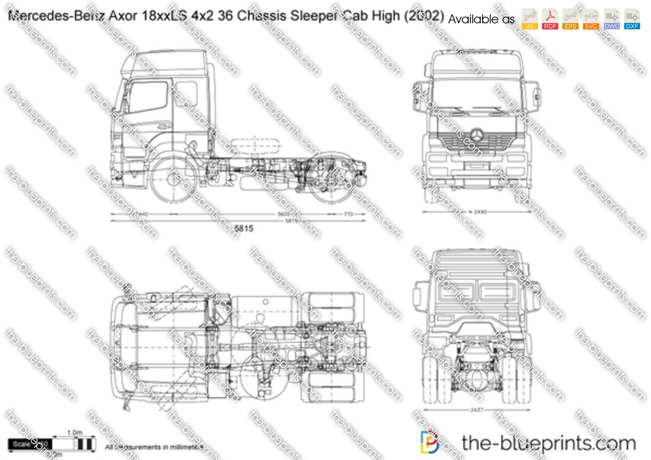 Mercedes-Benz Axor 18xxLS 4x2 36 Chassis Sleeper Cab High