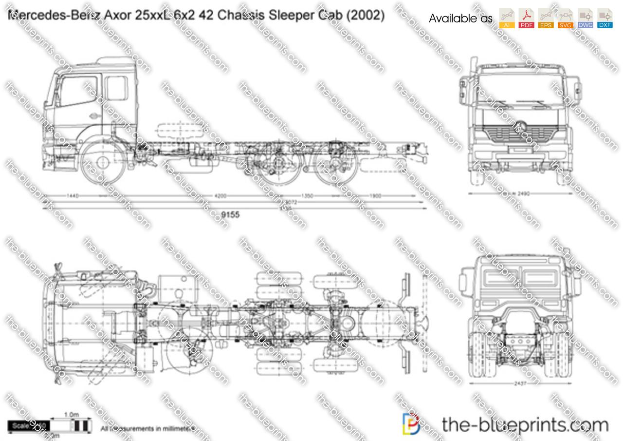Mercedes-Benz Axor 25xxL 6x2 42 Chassis Sleeper Cab