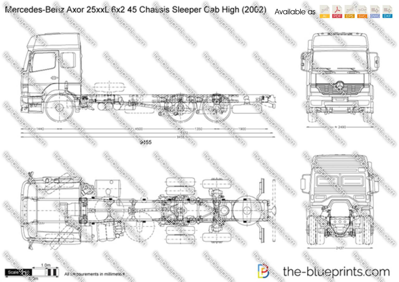 Mercedes-Benz Axor 25xxL 6x2 45 Chassis Sleeper Cab High