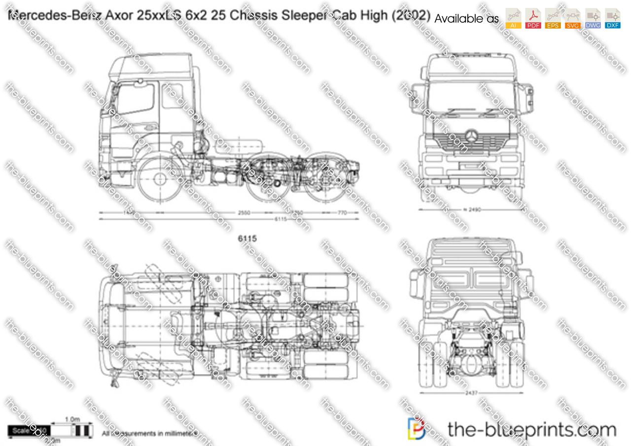 Mercedes-Benz Axor 25xxLS 6x2 25 Chassis Sleeper Cab High