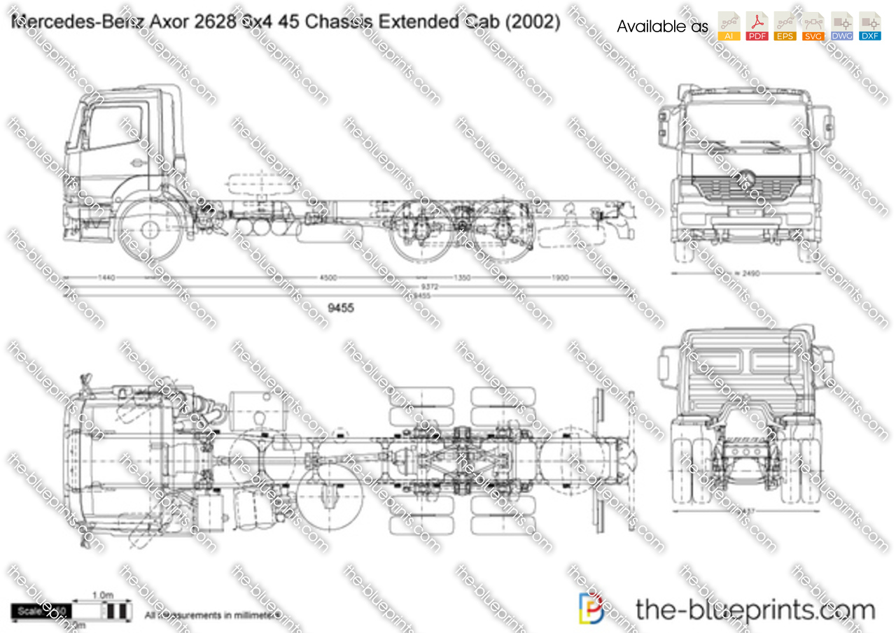 Mercedes-Benz Axor 2628 6x4 45 Chassis Extended Cab