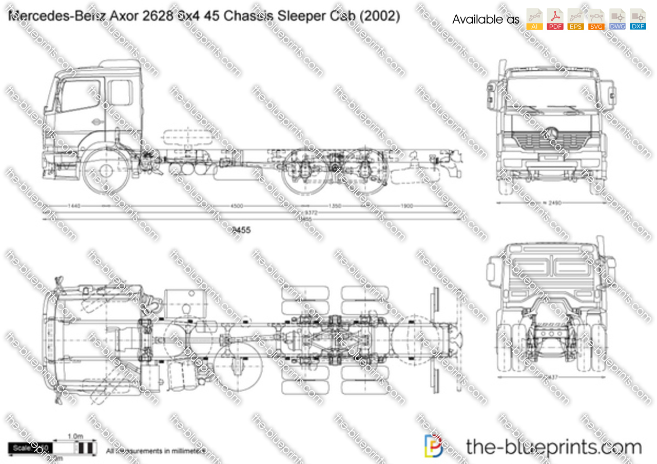 Mercedes-Benz Axor 2628 6x4 45 Chassis Sleeper Cab
