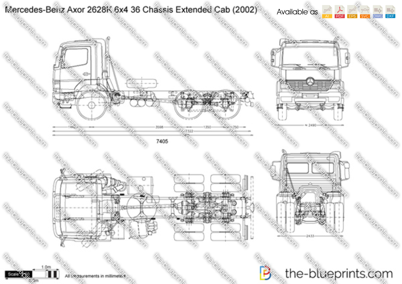 Mercedes-Benz Axor 2628K 6x4 36 Chassis Extended Cab