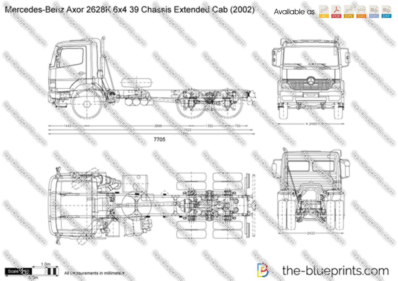 Mercedes-Benz Axor 2628K 6x4 39 Chassis Extended Cab