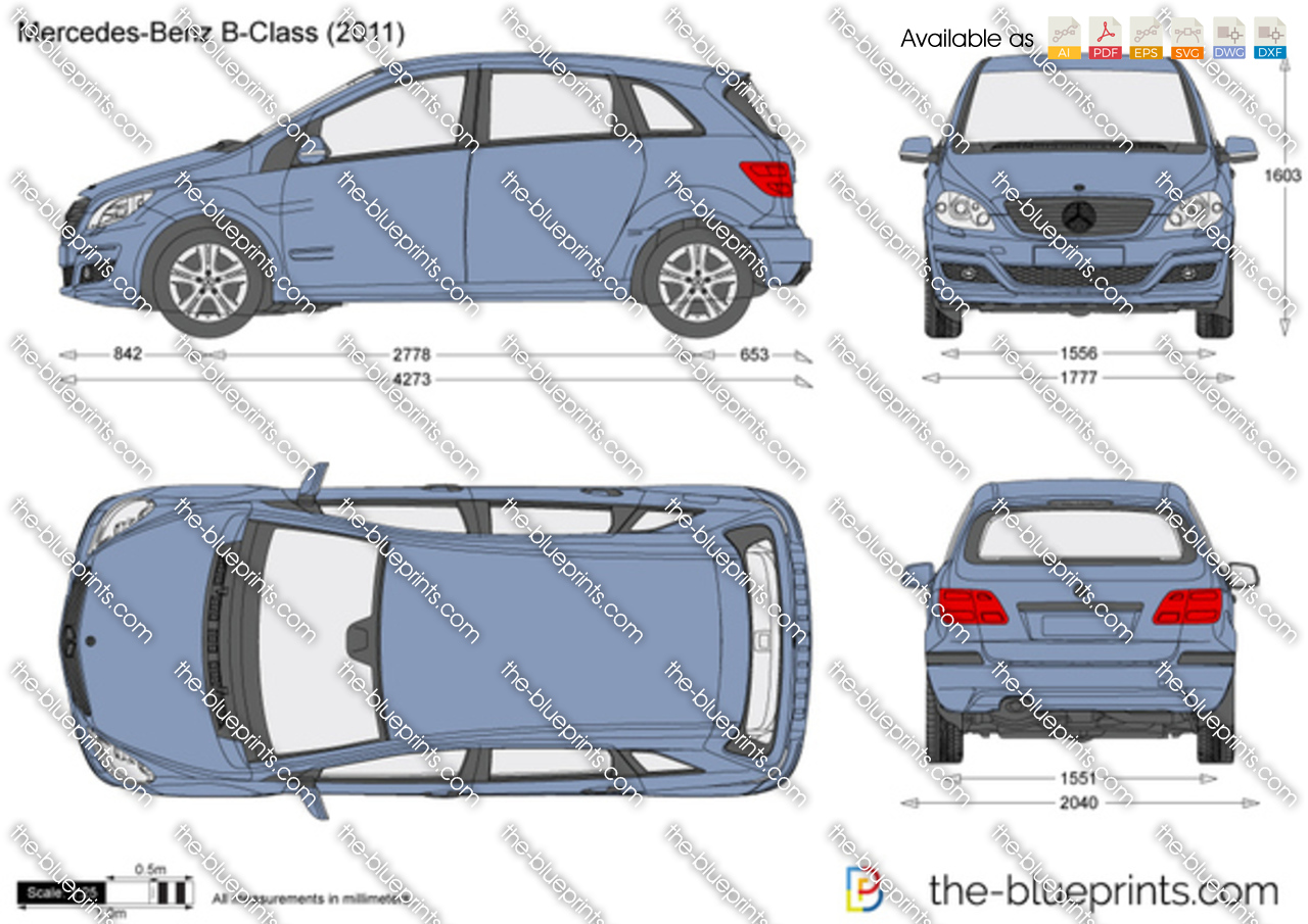 the vector drawing mercedes benz b class w245. Black Bedroom Furniture Sets. Home Design Ideas