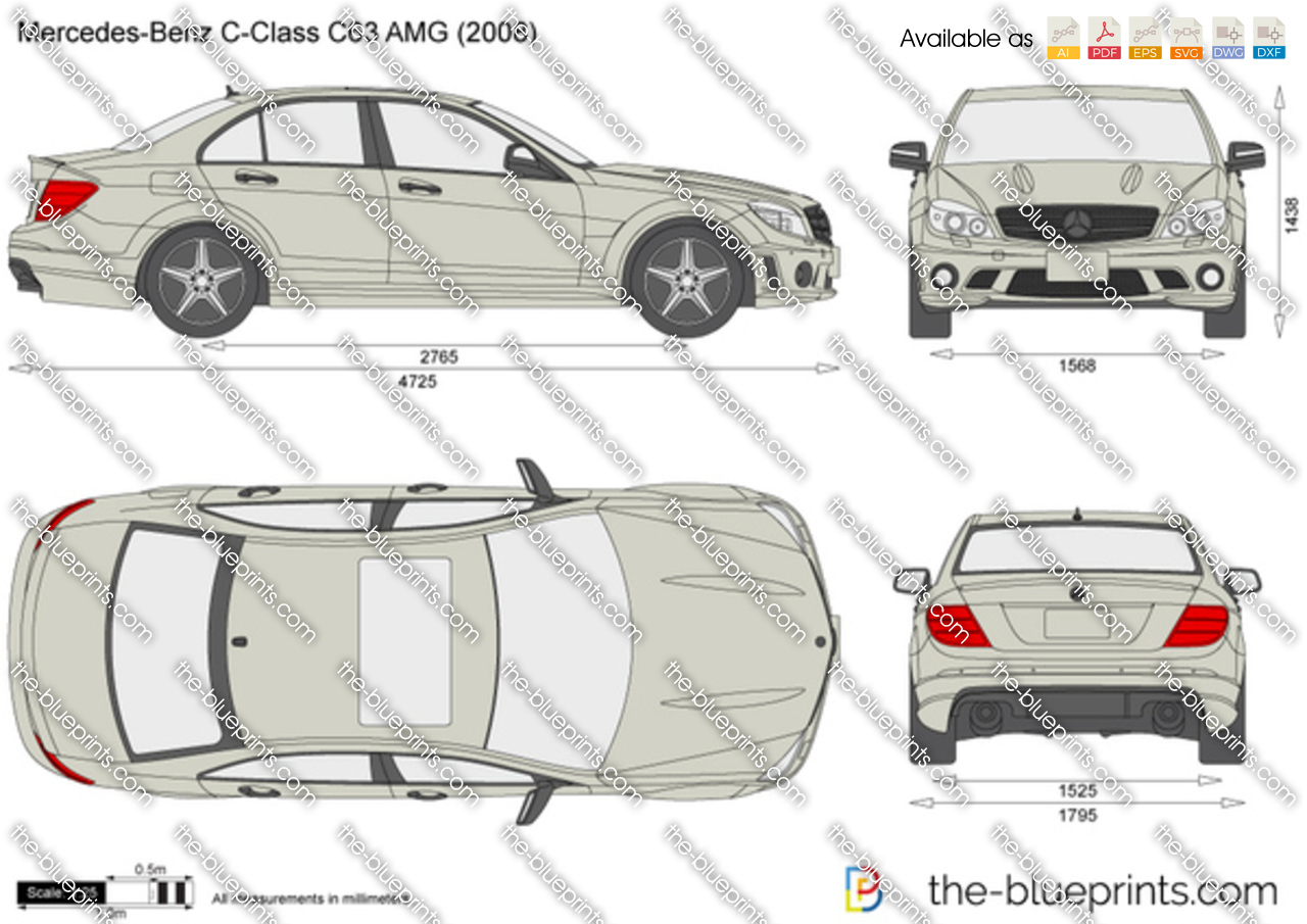 Mercedes Benz C Class C63 Amg Vector Drawing