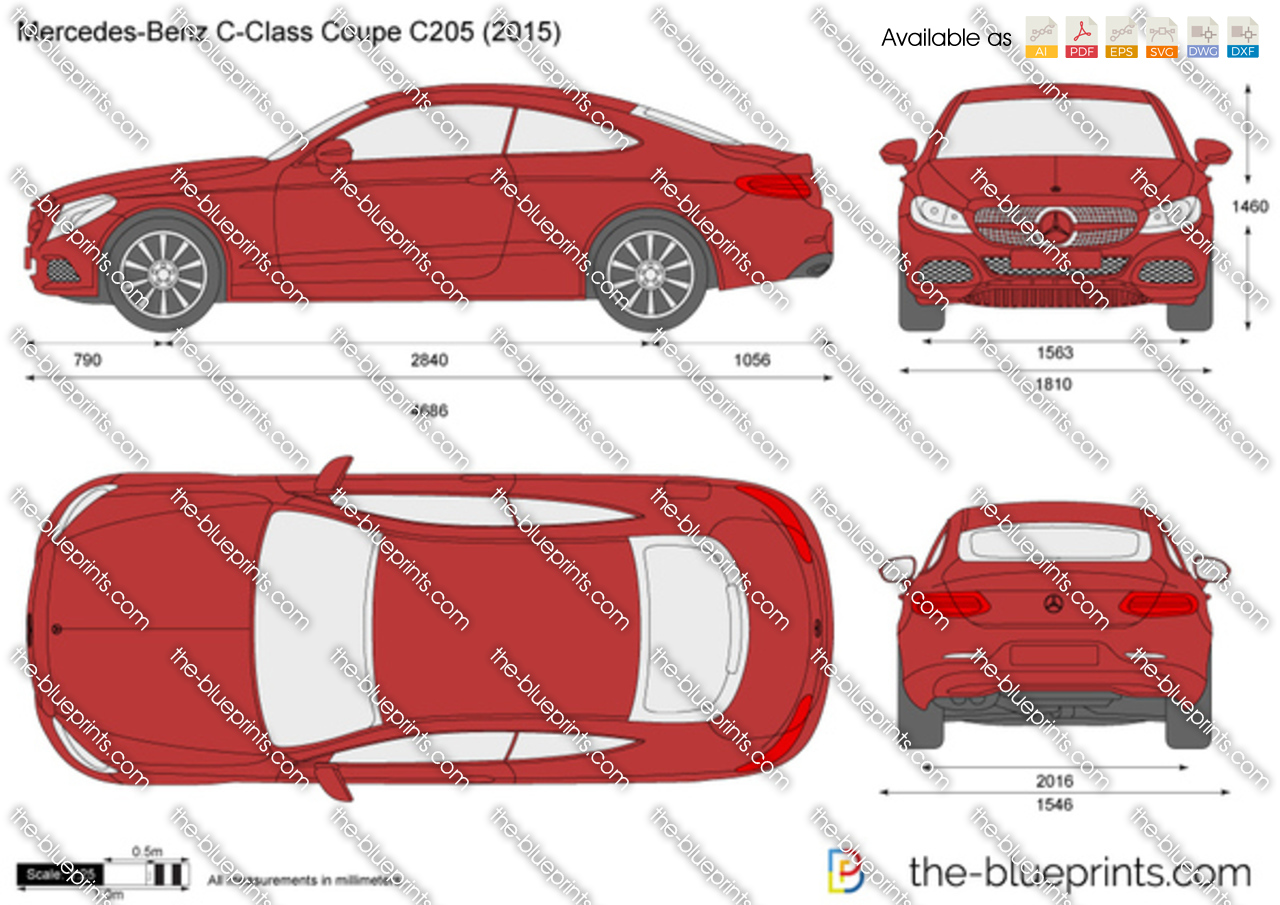 Mercedes benz c class coupe c205 vector drawing for 2016 mercedes benz c class dimensions